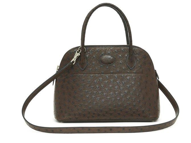 Hermès Bolide 25 DARK BROWN OSTRICH Handbags Exotic leather Dark brown ref.243525