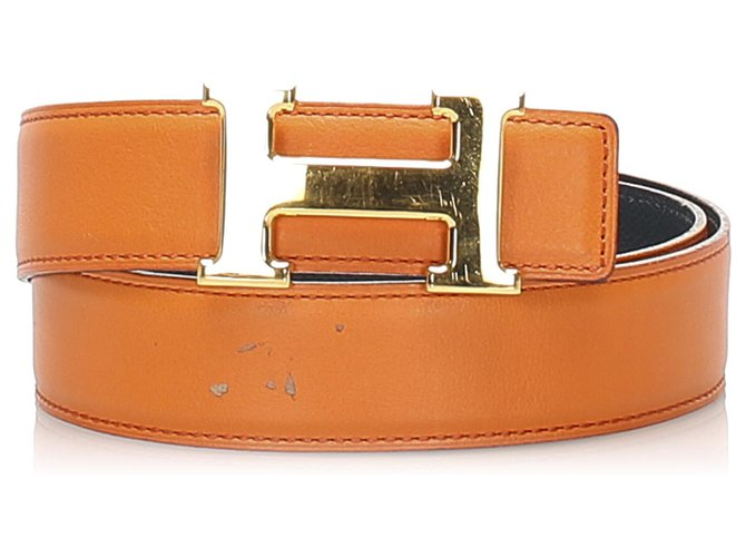 Hermès Hermes Orange Constance Leather Belt Clutch bags Leather,Other,Metal,Pony-style calfskin Silvery,Orange ref.244069