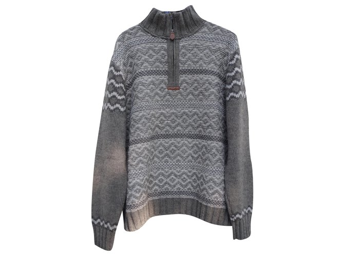 Autre Marque patterned trucker sweater Sweaters Wool Grey ref.244529