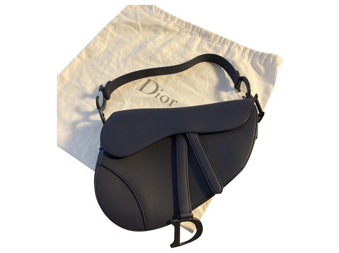 Christian Dior Saddle Navy blue Leather  ref.244727