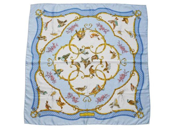 "Hermès ""Carré Hermès The key to the fields"" Silk scarves Silk Light blue ref.244783"