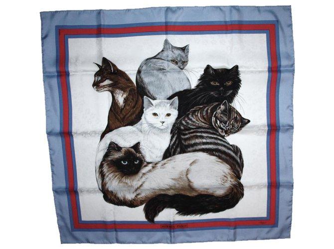 """Hermès Hermès square """"Les Chats"""" Silk scarves Silk Multiple colors ref.244802"""