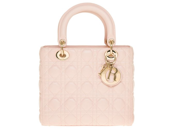 Christian Dior Splendid Christian Dior Lady Dior medium model shoulder bag in baby pink leather cannage, champagne metal trim Handbags Leather Pink ref.269462