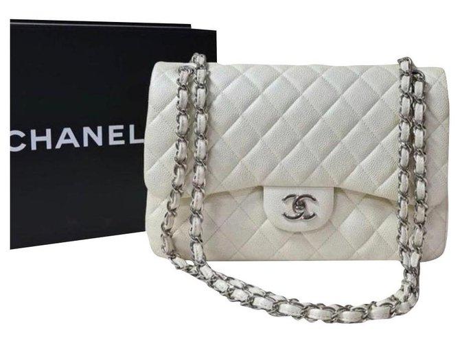 Chanel Chanel Jumbo lined flap bag Caviar Ivory SHW Handbags Leather Beige ref.245760