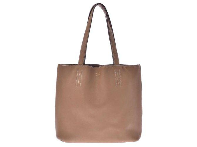 Hermès Hermès lined Sens Handbags Leather Brown ref.245766