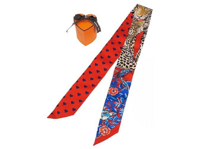 Hermès Hermes 2020 Valentine Limited Twilly jungle love heart leopard pattern Womens scarf red x blue Silk scarves Silk Red,Blue ref.245817