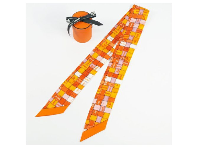 Hermès Hermes Twilly Bolduc ribbon Womens scarf orange Silk scarves Silk Orange ref.245833