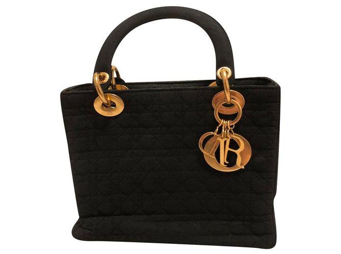 Christian Dior LADY DIOR CANNAGE CANVAS Black Nylon  ref.245979