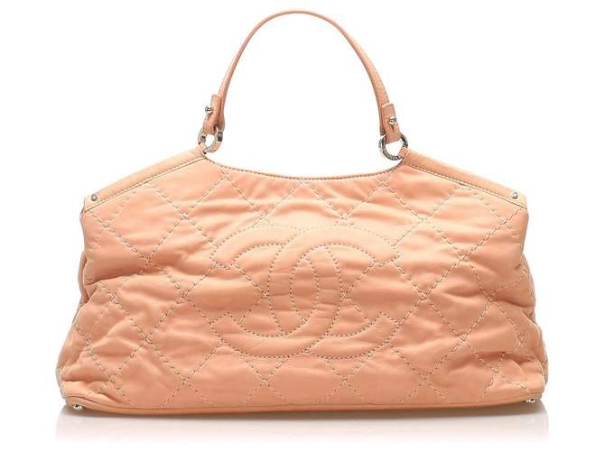 Sacs à main Chanel Cartable Chanel en cuir d'agneau CC rose Wild Stitch Cuir Rose ref.246289