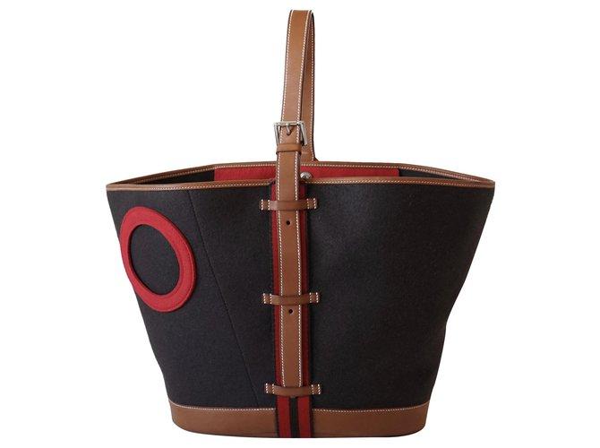 Hermès Handbags Multiple colors Leather Wool  ref.246360
