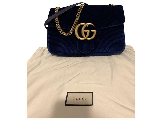 Gucci Gucci Marmont in blue velvet Handbags Velvet Blue ref.246567