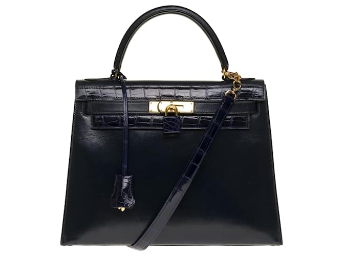 Hermès Exceptional and Unique Hermès Kelly 28 shoulder strap in navy box leather customized with navy blue Porosus crocodile, gold plated metal trim Handbags Leather,Exotic leather Navy blue ref.246711
