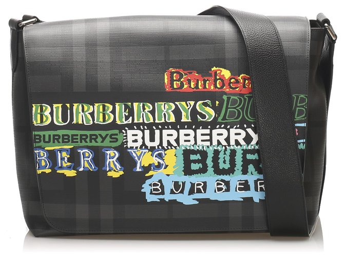 Burberry Burberry Black Printed Smoke Check Coated Canvas Crossbody Handbags Cloth,Cloth Black,Multiple colors ref.246849