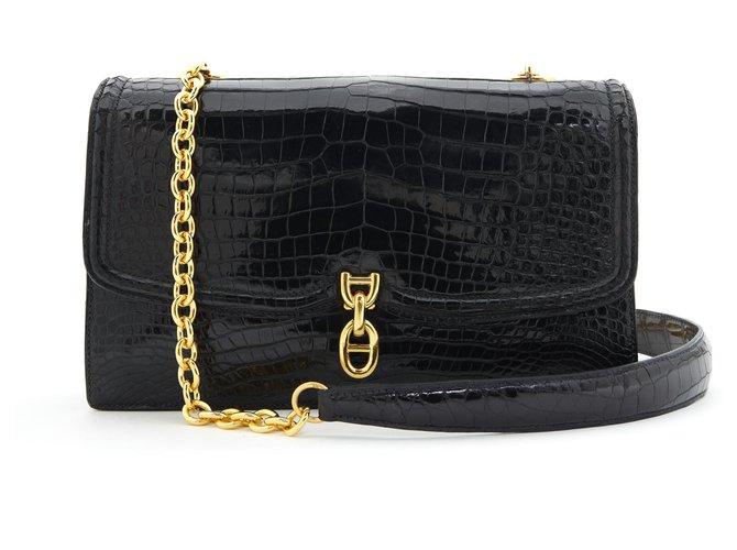 Hermès ANCHOR CHAIN BLACK CROCO Handbags Exotic leather,Metal Black ref.247295