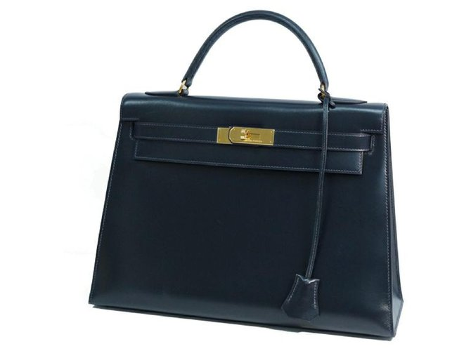 Hermès hermes kelly32 Womens handbag Navy x gold hardware Handbags Other Navy blue,Gold hardware ref.247632