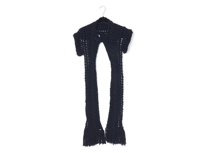 Chanel BLACK KNIT SHAWL Scarves Wool Black ref.247675