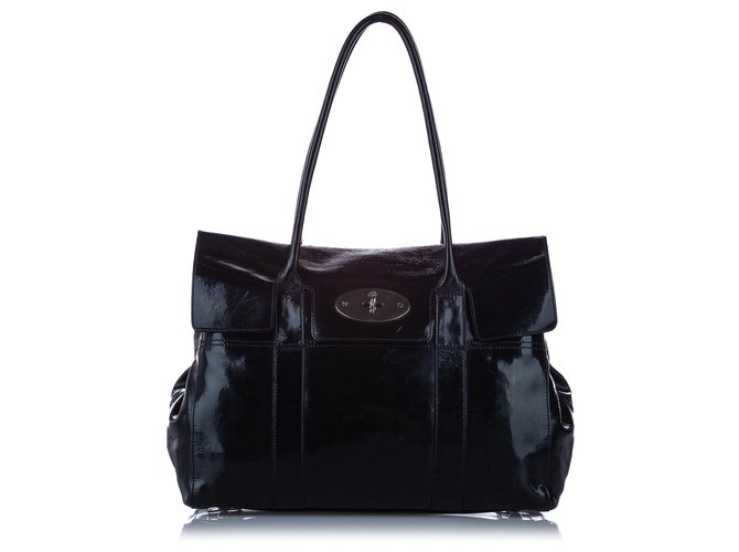 Mulberry Mulberry Black Bayswater Patent Leather Shoulder Bag Handbags Leather,Patent leather Black ref.247784