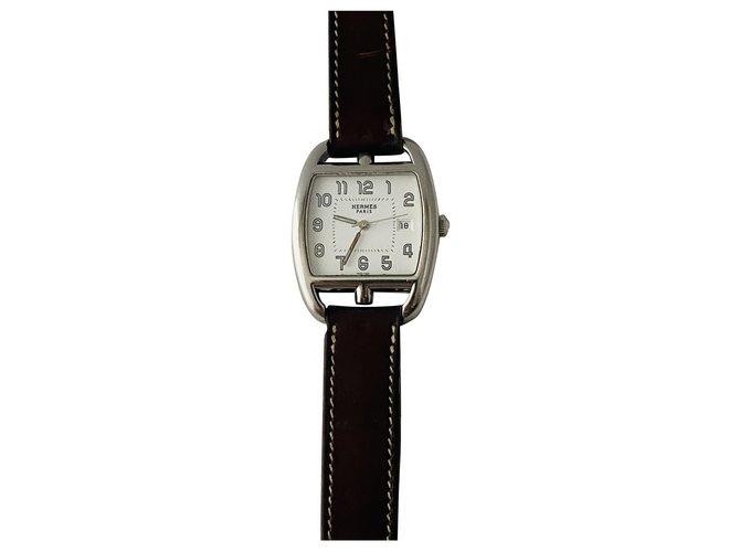Hermès Cape Cod Barrel Fine watches Steel Eggshell ref.247819