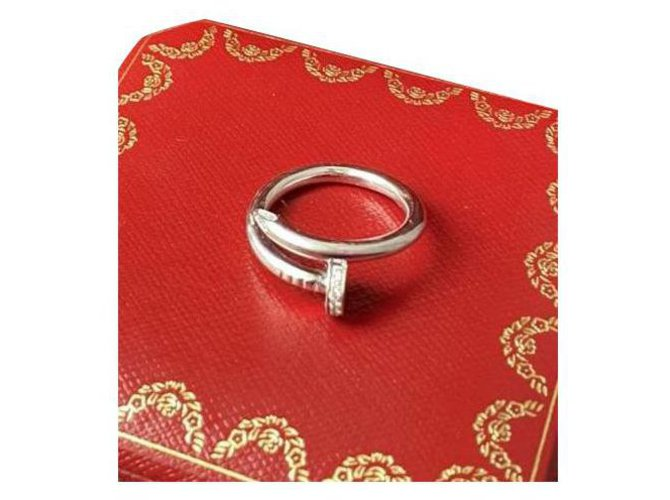 Bagues Cartier Bague Cartier Juste un Clou en or blanc et diamants Or blanc Argenté ref.248152
