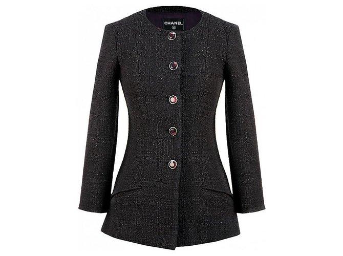 Chanel Gripoix buttons tweed jacket Jackets Tweed Purple ref.248639