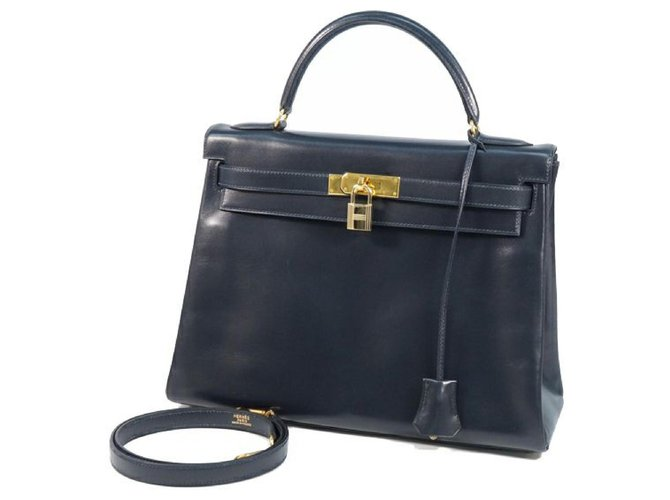 Hermès HERMES inside seam Kelly32 Womens handbag Navy x gold hardware Handbags Other Navy blue,Gold hardware ref.249291