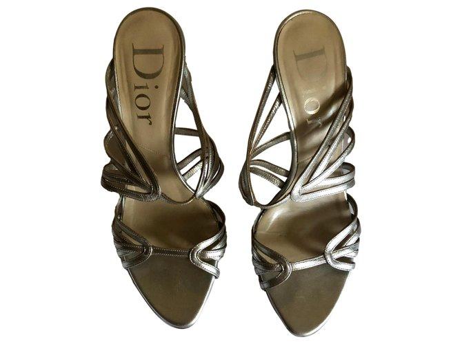 Sandales Dior Des sandales Cuir Argenté ref.249373