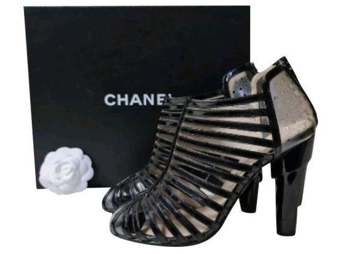 Chanel Transparent Black Patent Leather Sandals Size 38  ref.249664
