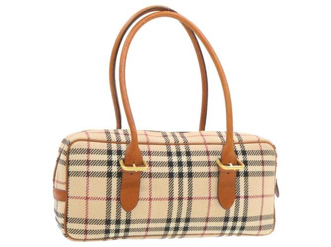 Burberry Burberry Shoulder bag Handbags Tweed Beige ref.249766