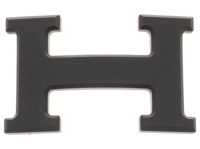 Ceintures homme Hermès Boucle de Ceinture Hermès 5382 en métal plaqué PVD noir mat, état neuf ! Métal Noir ref.250098