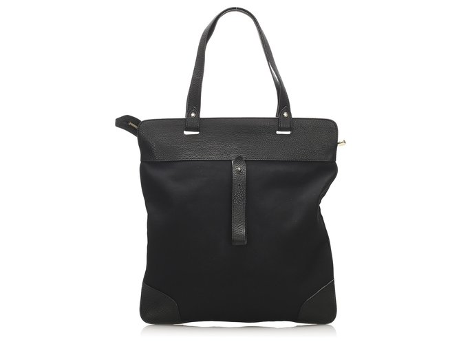 Burberry Burberry Black Canvas Tote Bag Totes Leather,Cloth,Pony-style calfskin,Cloth Black ref.251824