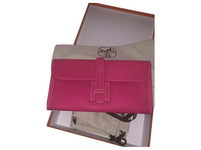 Hermès Jige Handbags Leather Pink ref.251914
