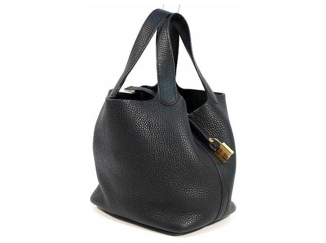 Hermès HERMES C Engraved mark(2018 ) Picotin Lock PM Womens handbag black x gold hardware Handbags Other Black,Gold hardware ref.252202