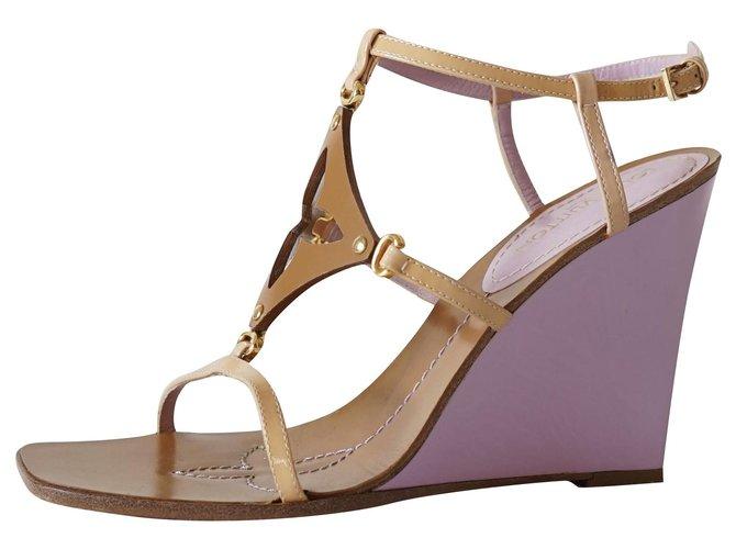 Louis Vuitton Sandals Sandals Leather,Patent leather Pink,Beige,Caramel ref.252603