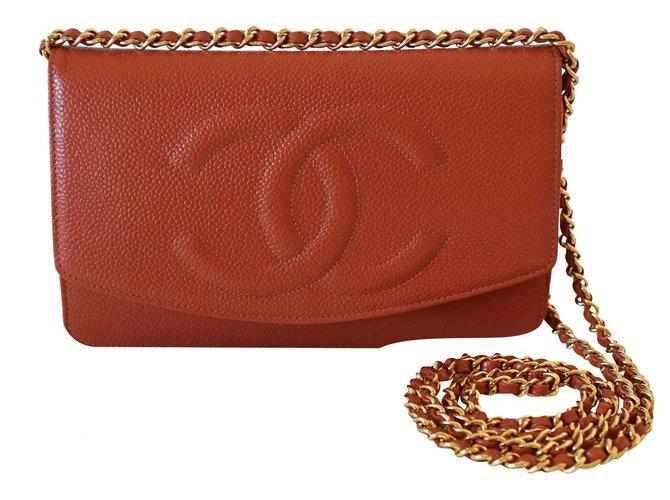 Chanel Handbags Handbags Leather Orange ref.252617
