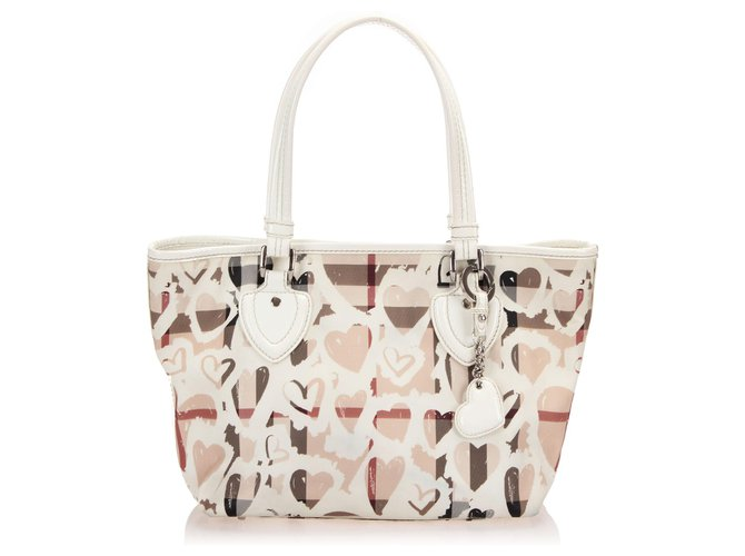 Burberry Burberry Brown Hearts Nova Check Tote Bag Totes Leather,Patent leather,Plastic Brown,White,Beige ref.252677