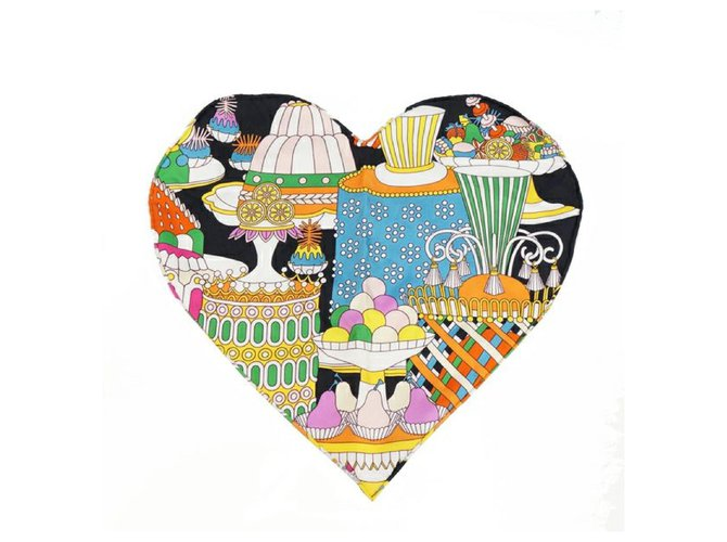 Hermès Hermes La Patisserie Francaise heart Womens scarf multi color Silk scarves Silk Other ref.252859