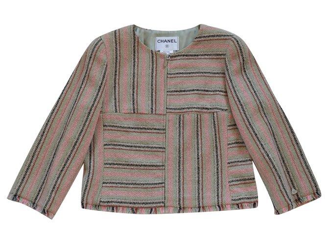 Chanel Jackets Pink Multiple colors Beige Silk Wool Nylon Acetate  ref.253059