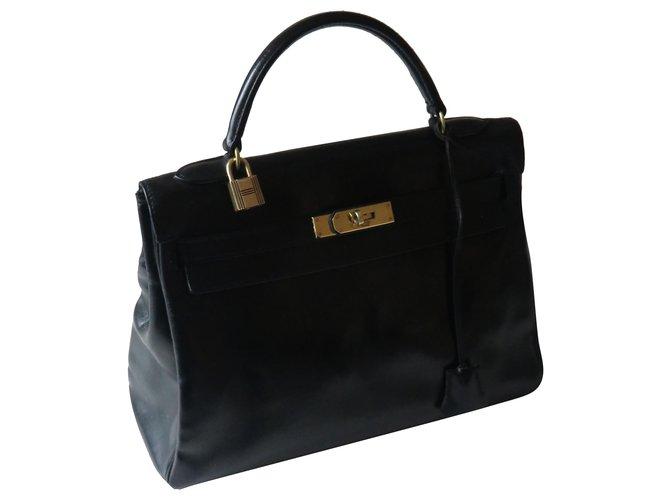 Hermès Hermes Kelly bag Handbags Leather Black ref.253145