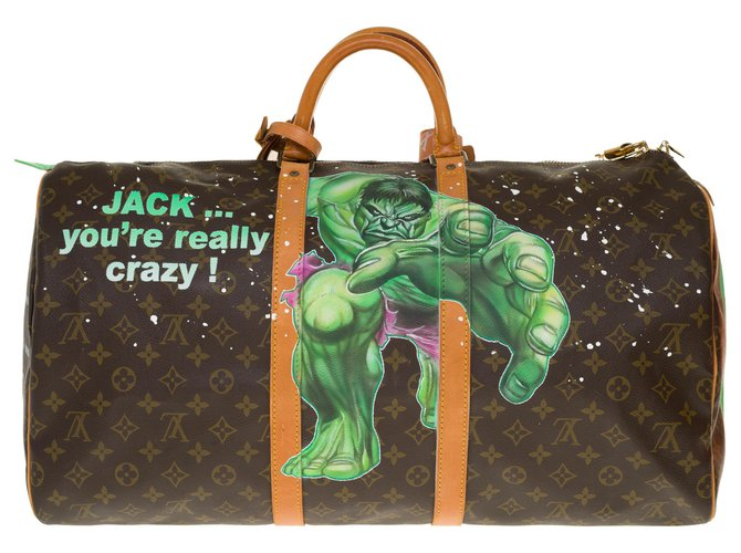 """Louis Vuitton Beautiful Louis Vuitton Keepall travel bag 55 in monogram canvas and natural leather customized """"Hulk Vs Shining"""" by artist PatBo Bags Briefcases Leather,Cloth Brown ref.253901"""