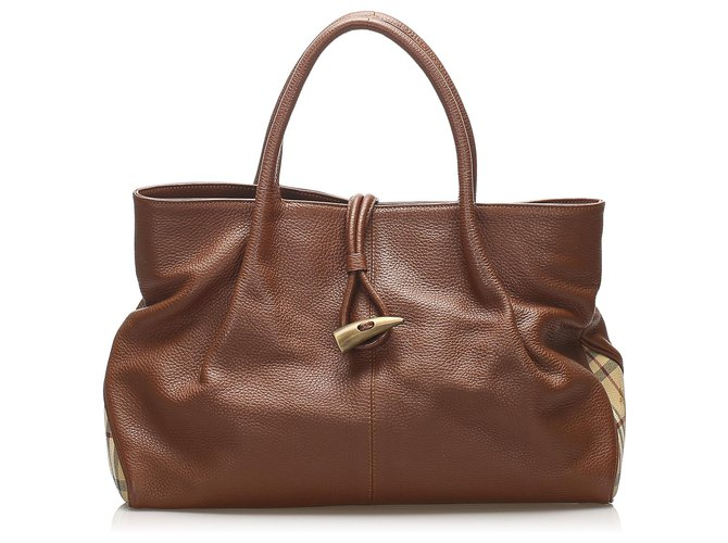 Burberry Burberry Brown Leather Tote Bag Totes Leather,Pony-style calfskin Brown,Multiple colors ref.253923