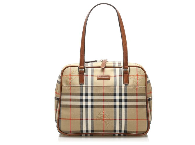 Burberry Burberry Brown Haymarket Check Canvas Shoulder Bag Handbags Leather,Cloth,Pony-style calfskin,Cloth Brown,Multiple colors,Beige ref.253928