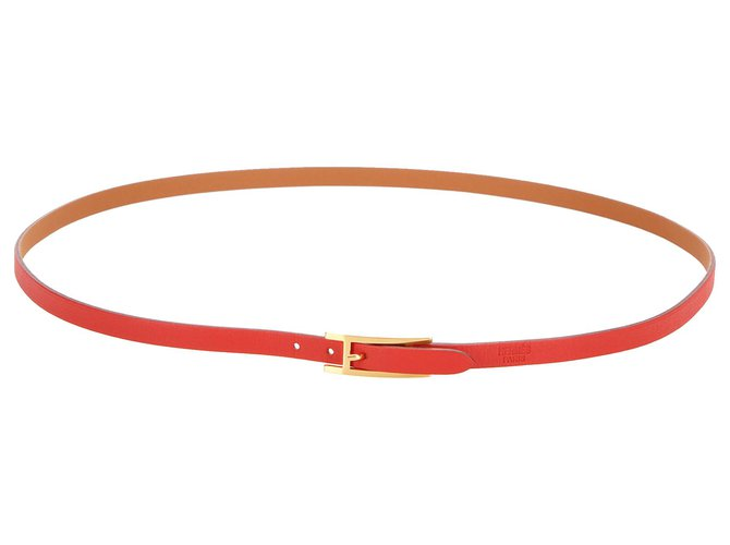 Hermès Hermes Red Quentin Reversible Leather Belt Clutch bags Leather,Other,Metal,Pony-style calfskin Brown,Red ref.254159