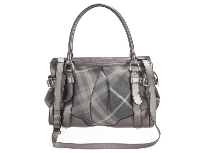 Burberry Burberry Gray Beat Check Nylon Satchel Handbags Leather,Pony-style calfskin,Nylon,Cloth Multiple colors,Grey ref.254281