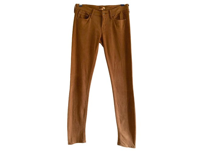 Mother Suede stretch jeans Caramel  ref.254458