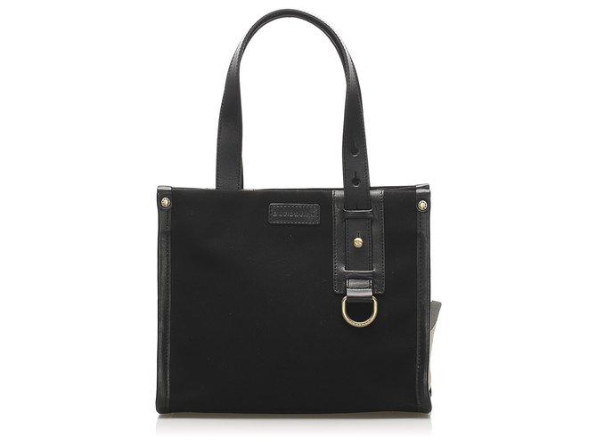Burberry Burberry Black Canvas Handbag Handbags Leather,Cloth,Pony-style calfskin,Cloth Black ref.254517