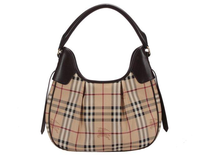 Burberry Burberry Brown Haymarket Check Coated Canvas Handbag Handbags Leather,Cloth,Pony-style calfskin,Cloth Brown,Multiple colors,Beige ref.254539