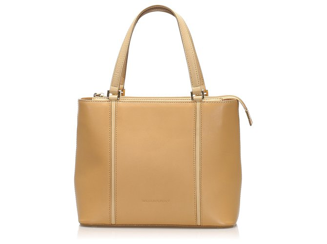 Burberry Burberry Brown Leather Tote Bag Totes Leather,Pony-style calfskin Brown,Beige ref.254544