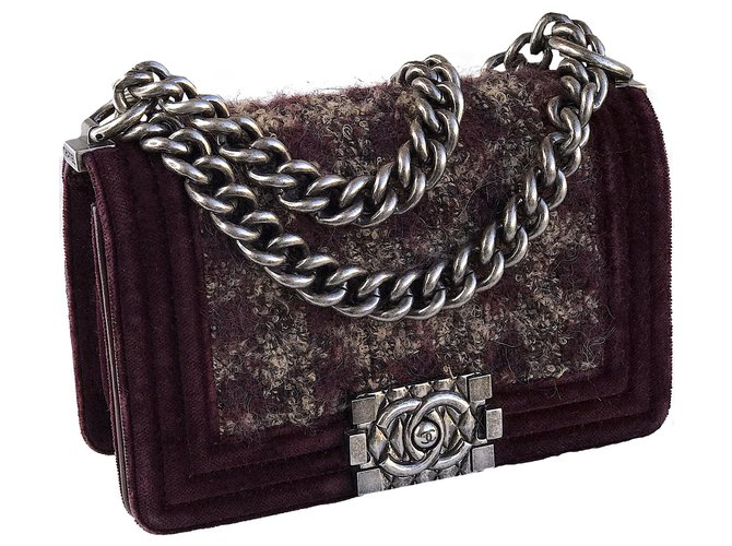 Chanel Limited Boy Flap Bag w/box and dustbag Handbags Leather,Velvet,Tweed Brown ref.254734
