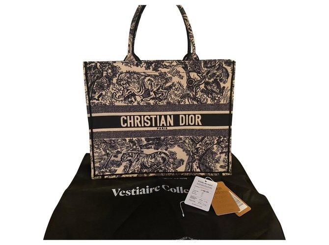 Dior Book tote riviera Handbags Cloth Beige,Navy blue ref.254989