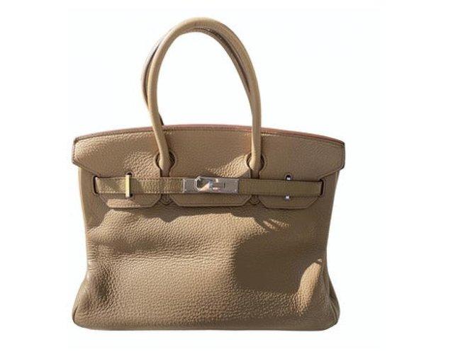 Hermès Handbags Handbags Leather Caramel ref.255073